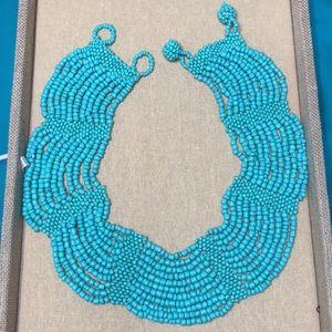 Vtg Free People Blue Beaded Stone Bib Necklace